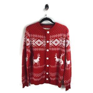 Tipsy Elves Frisky Reindeer Holiday Cardigan L